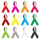 Collection of awareness ribbons in many various colors with curl