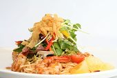 Thai salad with prawns and noodles.