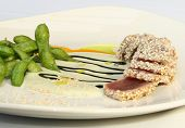 Sesame crusted ahi tuna with sea salted edamami beans