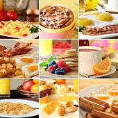 stock photo of breakfast  - Collage of beautiful breakfast images - JPG