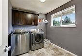 Grey Laundry Room With Modern Stainless Steel Appliances poster