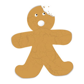 image of gingerbread man  - Gingerbread man with a bite out of his head and startled expression - JPG