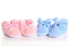 pic of twin baby  - Pink and blue baby booties - JPG