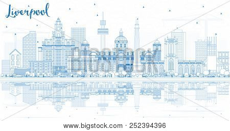 Outline Liverpool Skyline with Blue