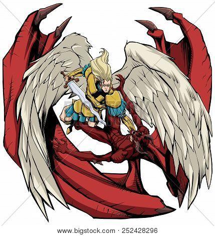 Line Art Illustration Of Archangel