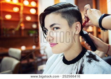 poster of Beauty, hairstyle, treatment, hair care concept, young woman and hairdresser cutting hair at hairdre