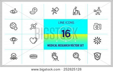 poster of Medical Research Icons. Set Of  Line Icons. Urgent Help, Heart Decease, Virus. Medical Research Conc