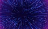Space Speed Dynamic Motion Pattern Background. Vector Abstract Starburst Explosion Of Neon Light Ray poster