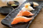 Sushi Roll With Salmon And Sushi Roll With Smoked Eel, Selective Focus. Close Up Of Sashimi Sushi Se poster