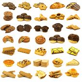 collection of freshly baked cookies, muffins, pies, rolls and other pastry