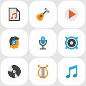 Audio Icons Flat Style Set With Begin, Bullhorn, Philharmonic And Other Tone Elements. Isolated  Ill poster