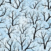 Seamless vector wallpaper. Winter. Forest. Trees. Snow. All colors easy for change
