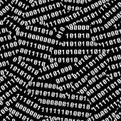 Binary figures torn on black screen. Vector seamless wallpaper
