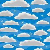 Clouds. Seamless vector wallpaper