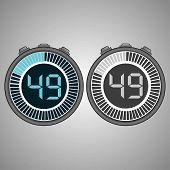 Постер, плакат: Electronic Digital Stopwatch Timer 49 Seconds Isolated On Gray Background Stopwatch Icon Set Time