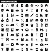 100 Camping Icon Set. Simple Set Of 100 Camping Vector Icons For Web Design Isolated On White Backgr poster