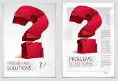 Broken Question Mark Exploding Brochure Or Flyer Design, Query Breaking To Pieces, Vector 3d Realist poster