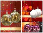 collection of various illustrations with christmas balls