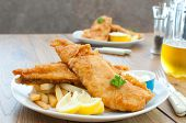 image of hake  - Fried fish fillets with chips and beer - JPG