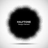 Halftone Dots Circle Frame Abstract Logo Design Element. Flower Halftone Texture. Halftone Emblem. V poster