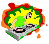 Cartoon acid DJ on set