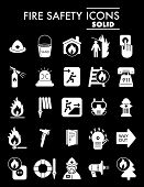 Fire Safety Glyph Icon Set, Emergency Symbols Collection, Vector Sketches, Logo Illustrations, Alarm poster