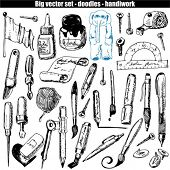vector set - doodles - brush and pen