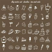 big vector set - doodles - cake & tea