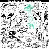 grande vector set - doodle - espaço & robôs