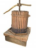 image of wine-press  - Ancient wine press isolated on white background - JPG