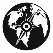 Compass On Earth Icon. Simple Illustration Of Compass On Earth  Icon For Web poster