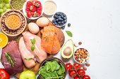 Balanced Diet Food Background. Meat, Fish, Fruits And Vegetables On White. poster