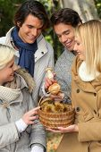 Two couples gathered around basket of mushrooms