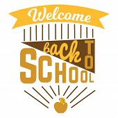 Welcome Back To School Label. Back To School Colorful Doodle Lettering Sign Of Apple, Text Back To S poster