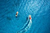 Motorboat At The Sea In Balearic Islands. Aerial View Of Floating Boat With People In Transparent Bl poster
