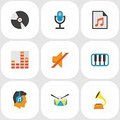Audio Icons Flat Style Set With Synthesizer, Play List, Listen And Other Quiet Elements. Isolated  I poster