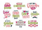 Collection Of Grandparents Day Lettering Isolated On White Background. Bundle Of Elegant Festive Ins poster