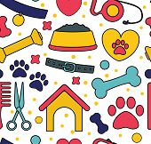 Pet Seamless Patterns. Backgrounds For Pet Shop Websites And Prints. poster