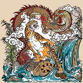 Chinese Dragon And Tiger In The Landscape With Waterfall , Rocks ,plants And Clouds . Two Spiritual  poster