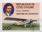 IVORY COAST - CIRCA 1977: A stamp printed in The Ivory Coast shows Charles Lindbergh The pilot of th