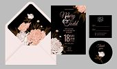 Wedding Invitation Cards And Cover. Invite, Thank You, Rsvp Templates. Decoration With Flower Peonie poster