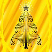 Árbol de Navidad de vector con fondo naranja brillo