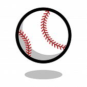 Baseball Softball Sport Ball Logo Vector Line 3d Icon poster