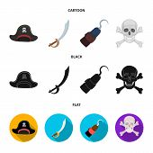 Pirate, Bandit, Cap, Hook .pirates Set Collection Icons In Cartoon, Black, Flat Style Vector Symbol  poster