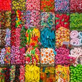 Assorted gummy candies in the shop. Top view. Jelly sweets. poster