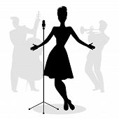 Retro Singer Woman Silhouette With Musicians In The Background poster