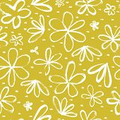 Seamless Pattern With Hand Drawn Abstract Flowers On A Yellow Background. Cute Hand Drawn Vector Ill poster
