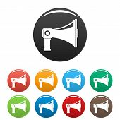 Single Megaphone Icon. Simple Illustration Of Single Megaphone Icons Set Color Isolated On White poster