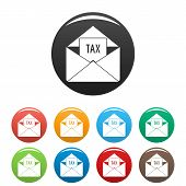 Tax Email Icon. Simple Illustration Of Tax Email Icons Set Color Isolated On White poster