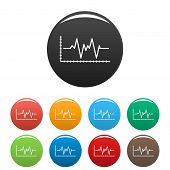 Cardiogram Icon. Simple Illustration Of Cardiogram Icons Set Color Isolated On White poster